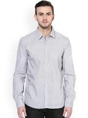 Turtle Men Grey & White Slim Fit Printed Casual Shirt
