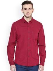 Turtle Men Red Slim Fit Casual Shirt