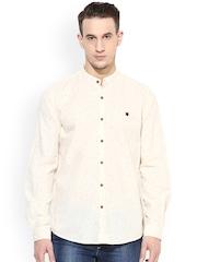 Turtle Men Cream Printed Slim Fit Casual Shirt