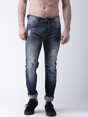 Moda Rapido Men Blue Slim Fit Mid-Rise Highly Distressed Jeans