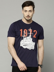 French Connection Men Navy Blue Printed T-shirt