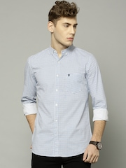 French Connection Men White & Blue Printed Slim Fit Casual Shirt