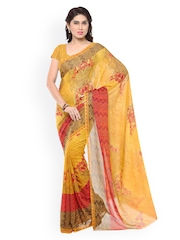 Desi Look Mustard Yellow & Red Faux Georgette Printed Saree