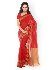 Desi Look Red Faux Georgette Printed Saree