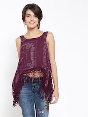 FOREVER 21 Women Wine-Coloured Printed Top