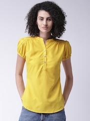 Moda Rapido Women Mustard Yellow Solid Shirt-Style Top