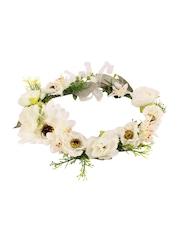 CUTECUMBER Girls Off-White & Green Floral Tiara