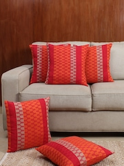 House This Red & Orange Set of 5 Patterned 16'' x 16'' Square Cushion Covers