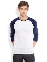 HIGHLANDER Men White Solid Round Neck T-shirt