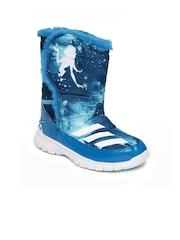 Adidas Kids Blue Disney Frozen Printed High-Top Flat Boots