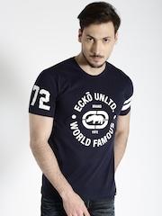 Ecko Unltd Men Navy Blue Printed T-shirt