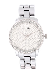 FLUID Silver-Toned Embellished Dial Analogue Watch FL-156