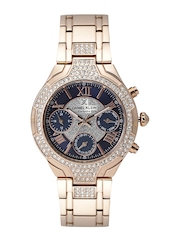 Daniel Klein Exclusive Women Navy Stone-Studded Multifunction Dial Watch DK11195-5