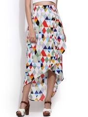 Trend Arrest Multicoloured Printed Tulip High-Low Skirt