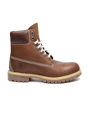 Timberland Men Brown High-Top Leather Flat Boots