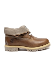 Timberland Men Brown Solid Roll-Top Leather Flat Boots