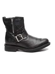 Timberland Men Black High-Top Willoughby Leather Flat Boots