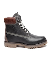 Timberland Men Black High-Top Leather Flat Boots