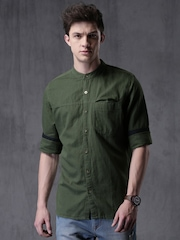 WROGN Men Olive Green Solid Casual Shirt