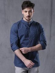 WROGN Blue Slim Fit Printed Casual Shirt