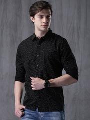 WROGN Men Black Slim Fit Printed Casual Shirt