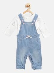 mothercare Girls Blue & White Clothing Set