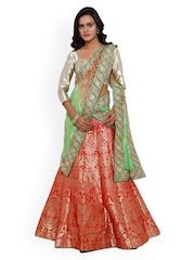 SMAYANA Red & Gold-toned Semi-Stitched Printed Lehenga Choli With Dupatta