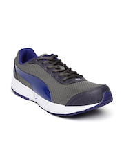 Puma Men Charcoal Grey & Blue Reef Running Shoes