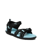 PUMA Women Black & Blue Techno Wn s IDP Sports Sandals