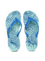 Puma Women Blue & Green Ronni Printed Flip-Flops