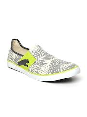 PUMA Unisex Off-white & Charcoal Grey Printed Regular Slip-On Sneakers