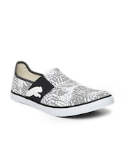 PUMA Unisex White & Black Printed Regular Slip-On Sneakers