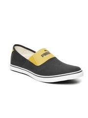 PUMA Unisex Grey & Mustard Yellow Colourblock Slip-On Sneakers