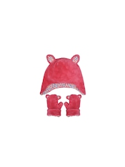 mothercare Girls Pink Beanie with Gloves
