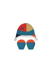 mothercare Boys Multicoloured Patterned Beanie with Mittens