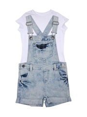 mothercare Girls Blue Denim Dungarees With Top
