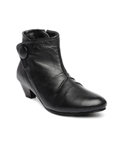 Lee Cooper Women Black Leather Heeled Boots