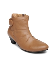 Lee Cooper Women Brown Solid Leather Heeled Boots