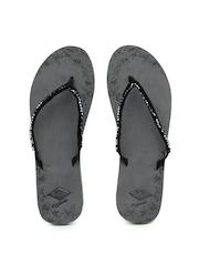 Lee Cooper Women Black & Charcoal Grey Printed Beaded Flip-Flops