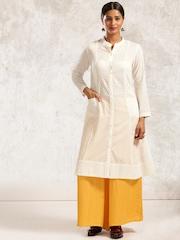 Anouk Women Off-White Woven A-Line Kurta