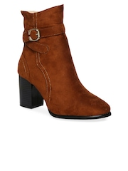 20Dresses Women Tan Brown Solid Heeled Boots