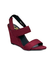 20Dresses Women Burgundy Solid Wedges