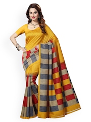 Ishin Yellow Checked Bhagalpuri Tussar Silk Traditional Saree