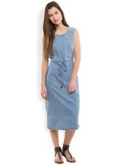 Tokyo Talkies Women Blue Solid Midi Dress