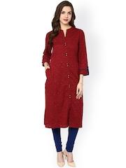 Sringam Women Maroon Woven Design Straight Kurta