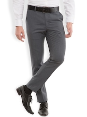 Black coffee Men Grey Sharp Fit Flat-Front Trousers