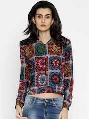 Global Desi Multicoloured Printed Jacket