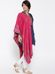 WEAVERS VILLA Magenta Pashmina Wool Patterned Shawl