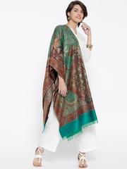 WEAVERS VILLA Green & Brown Pashmina Wool Patterned Shawl