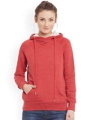Femella Women Red Hooded Sweatshirt